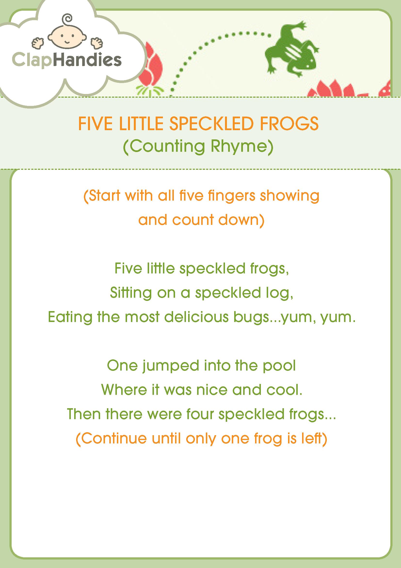 Five Little Specked Frogs